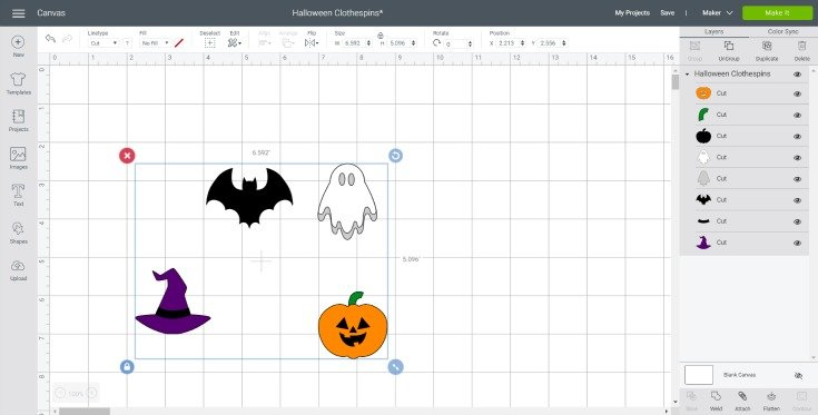 uploading the halloween svgs to cricut design space