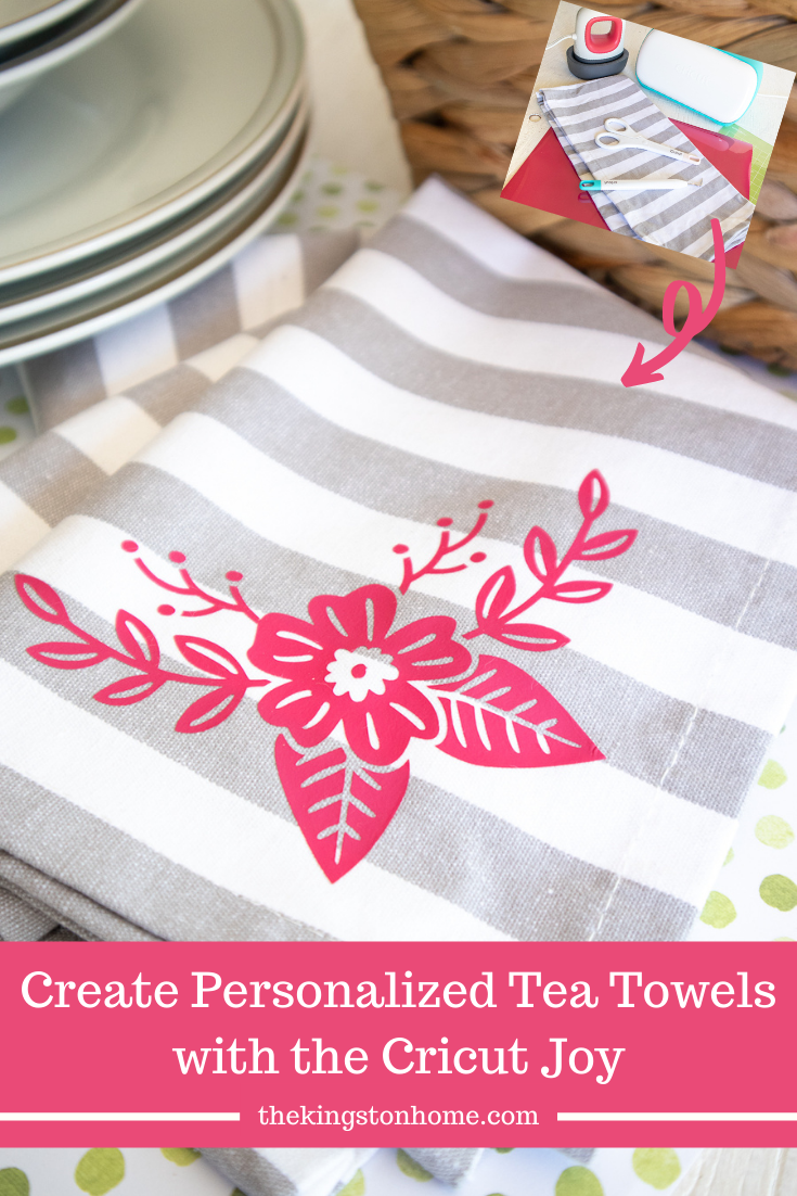 Create Personalized Tea Towels with the Cricut Joy - The Kingston Home: Looking for an inexpensive hostess gift? Want to brighten up your own kitchen? With just a scrap of iron-on and your Cricut Joy you can create personalized tea towels for any occasion! via @craftykingstons