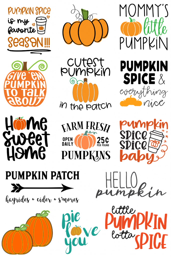 assorted phrases about pumpkins for home decor projects