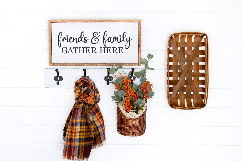 friends & family gather here wall sign