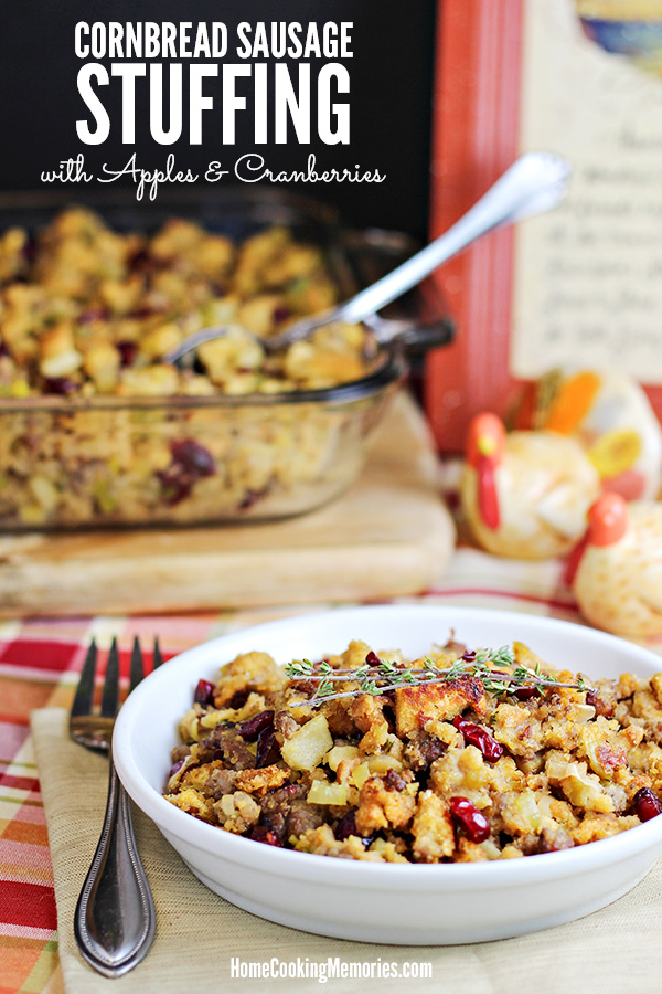 Cornbread Sausage Stuffing Recipe with Apples & Cranberries by Home Cooking Memories