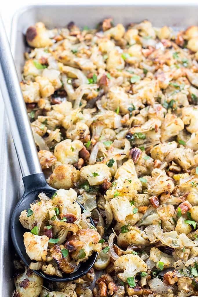 Low Carb Cauliflower Stuffing by Wholesome Yum