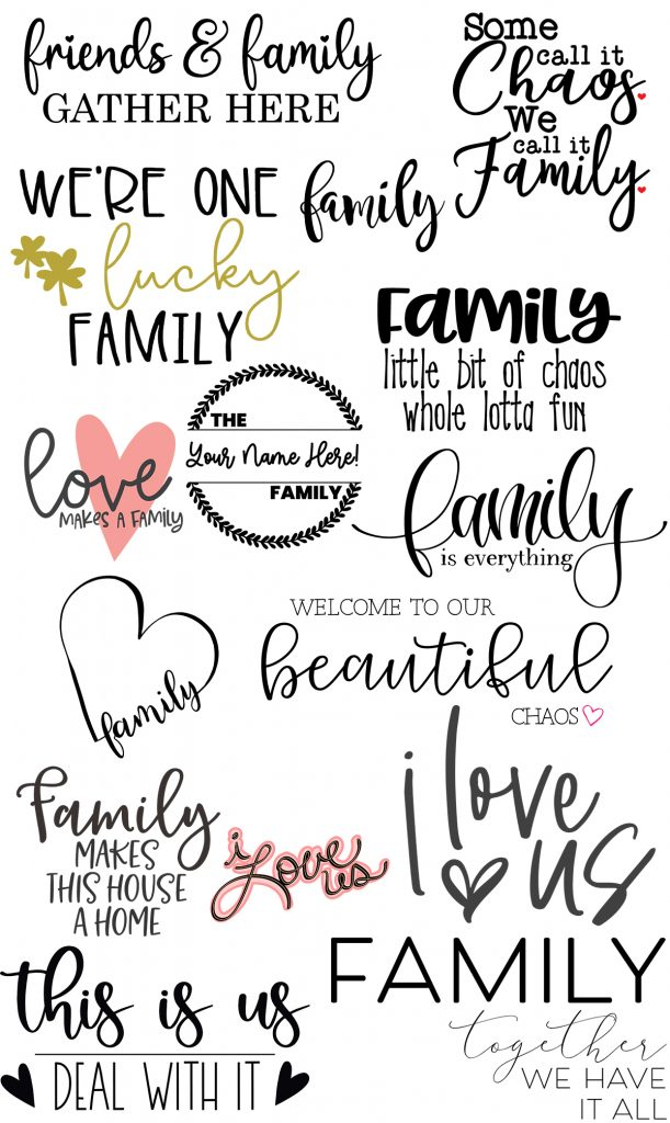 Free Family SVG Files For Your Cricut or Silhouette collage