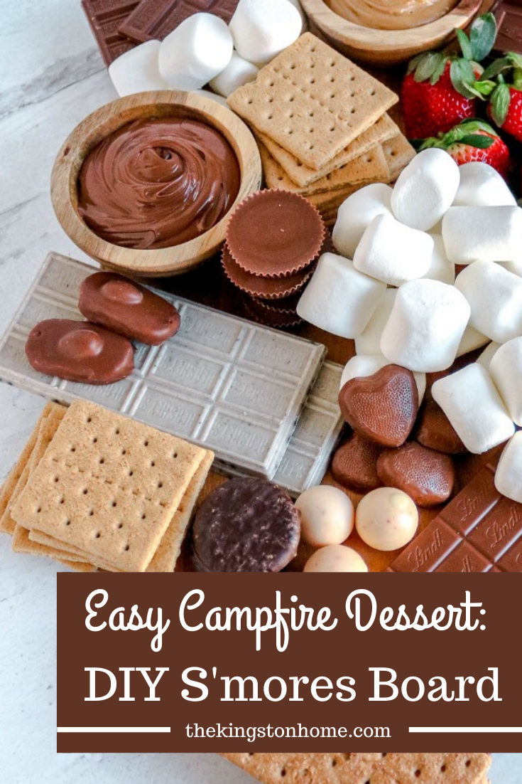 Easy Campfire Dessert DIY Smores Board - The Kingston Home: Looking for a fun and easy campfire dessert to make this Fall? Grab all the delicious things and let's make a s'mores board! via @craftykingstons