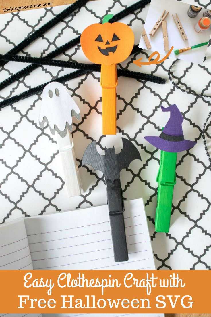 Easy Clothespin Craft with Free Halloween SVG - The Kingston Home