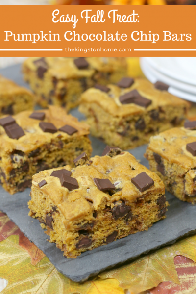 cookie bars made with pumpkin and chocolate chips