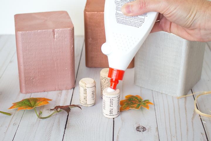 apply glue to cork