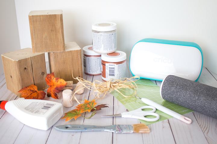 Metallic Wood Block Pumpkins Supplies