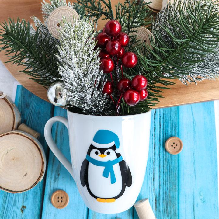 holiday penguin mug