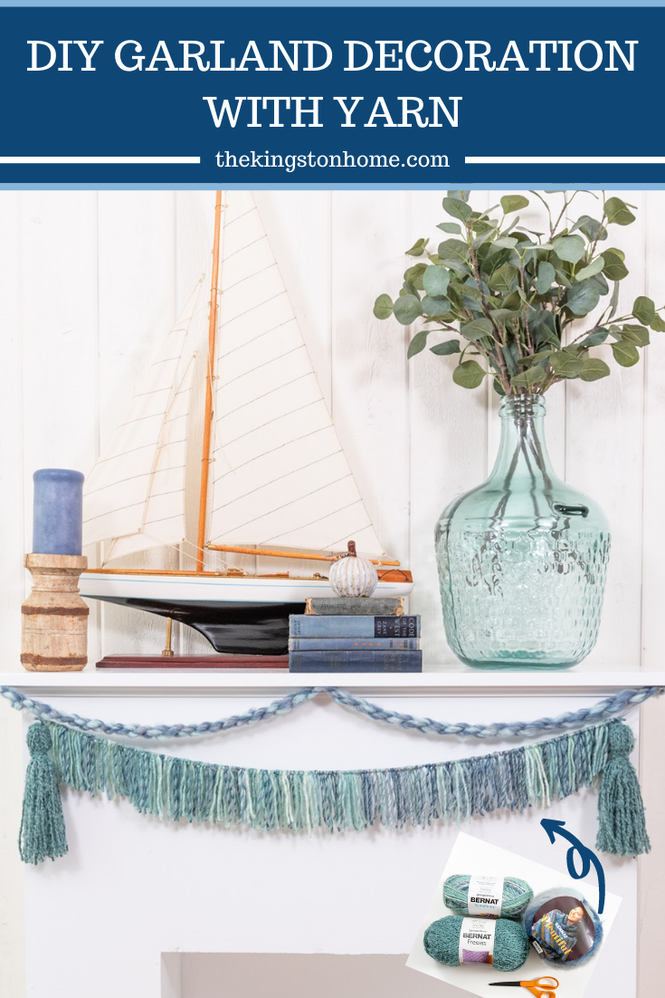 DIY GARLAND DECORATION WITH YARN - The Kingston Home: I am always looking for a reason to add garland decoration to my mantel and love DIY, but I always used paper. Then I discovered Bernat Yarn at JOANN and it has changed the way I create! via @craftykingstons