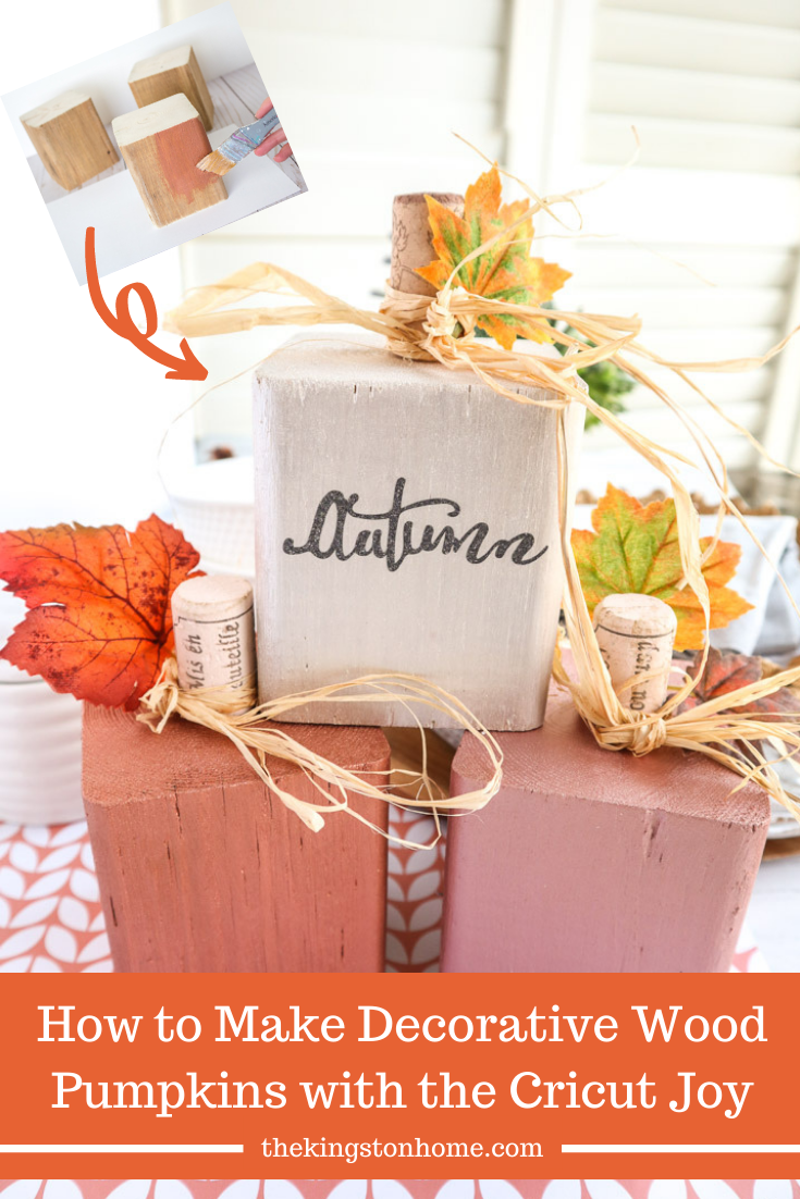 How to Make Decorative Wood Pumpkins with the Cricut Joy - The Kingston Home: Looking for a fun hostess gift or want to add a special touch to your own home decor? Grab some scraps of wood and your Cricut Joy and let's create these fun and festive decorative wood pumpkins! via @craftykingstons