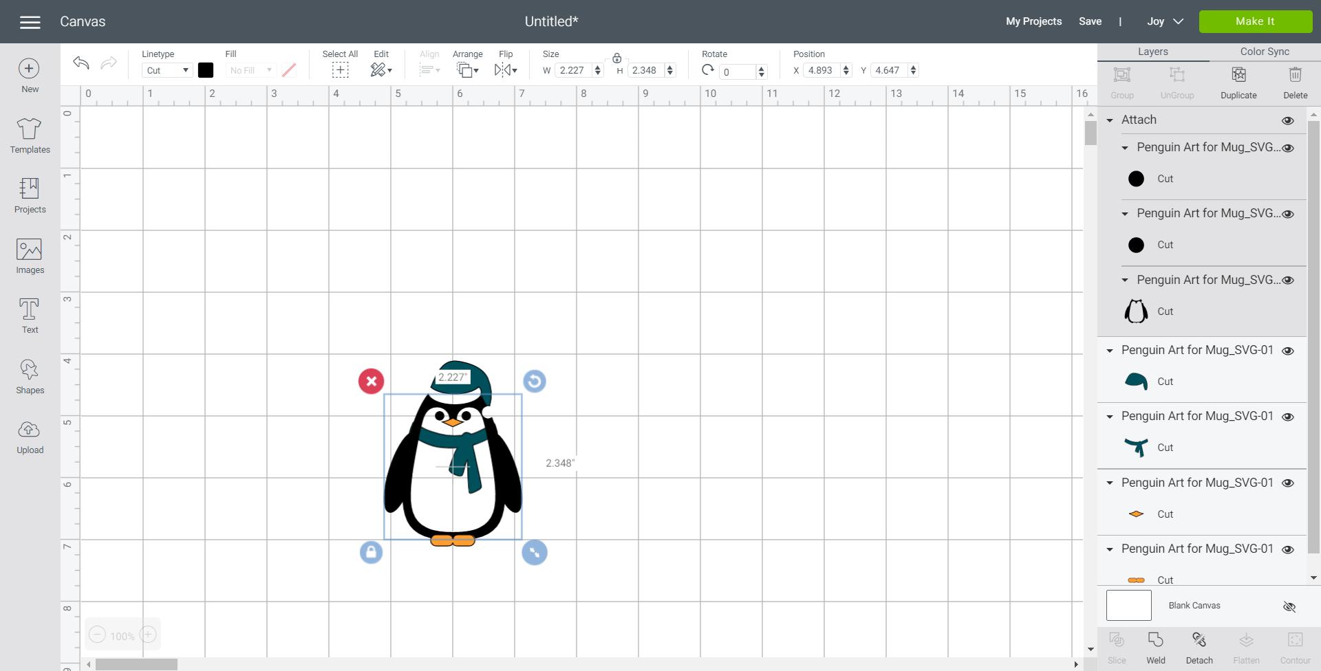 cricut design space with penguin svg