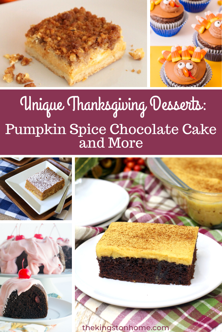 Unique Thanksgiving Desserts: Pumpkin Spice Chocolate Cake and More - The Kingston Home: Want to try something a little different this Thanksgiving? We've rounded up some unique Thanksgiving desserts that are sure to be a hit right alongside (or instead of) the traditional pumpkin pie! via @craftykingstons