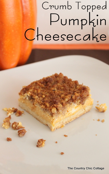 Crumb Topped Pumpkin Cheesecake Recipe - The Country Chic Cottage