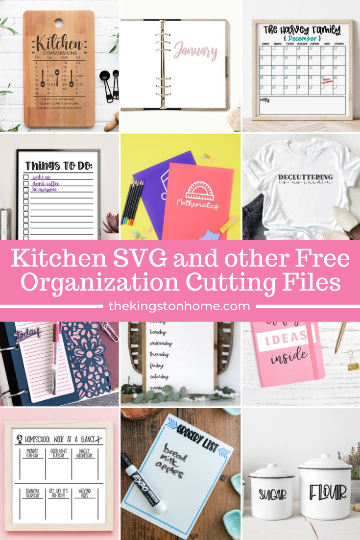 Kitchen SVG and other Free Organization Cutting Files via @craftykingstons