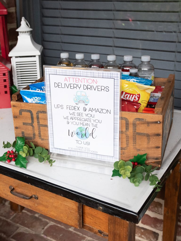 snacks on table for delivery drivers