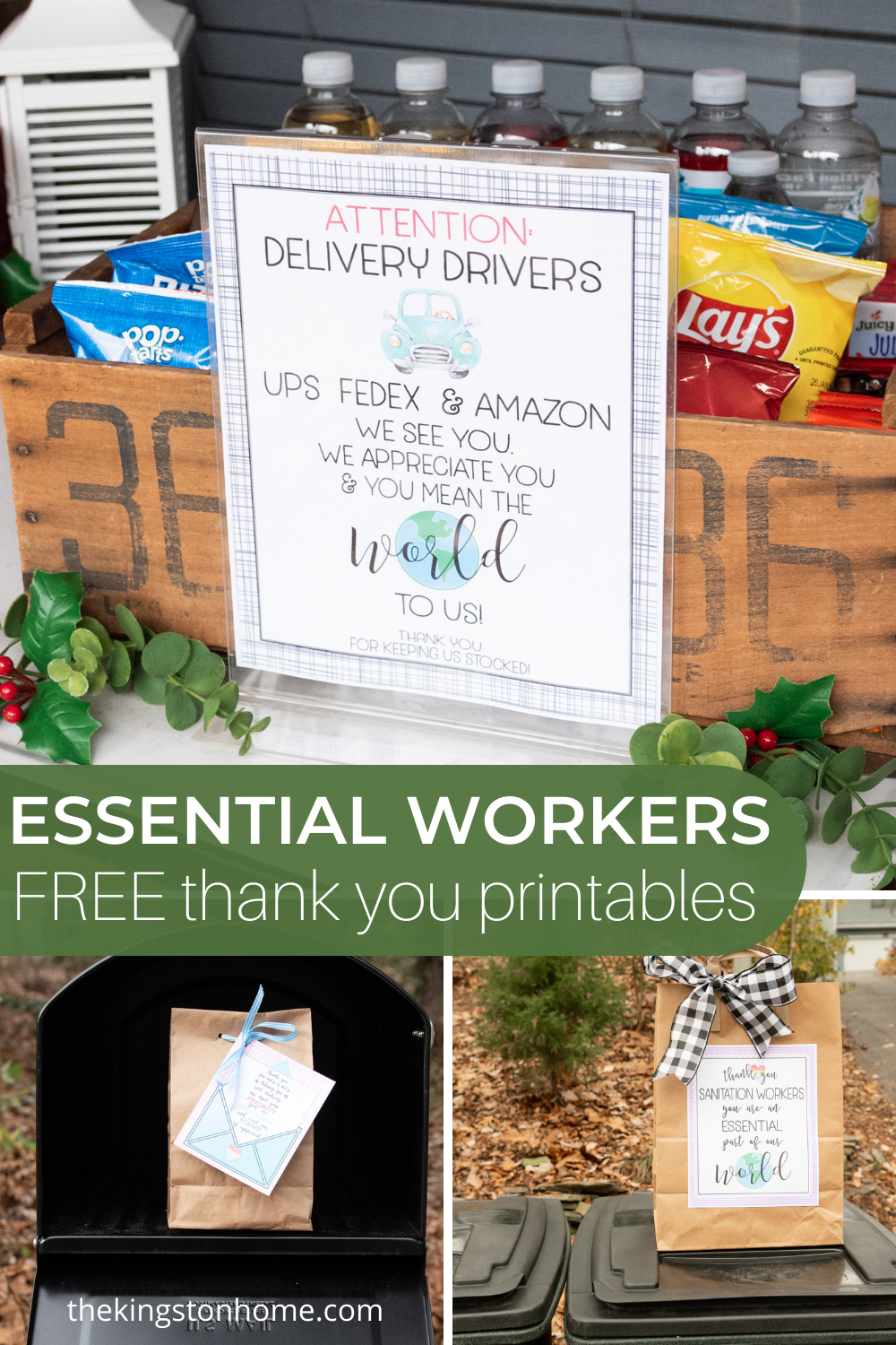 Free Essential Worker Thank You Printables - The Kingston Home: In a year where we have all been trying to stay home and stay safe, essential workers have been a lifeline for many families. Today we're sharing five FREE essential worker thank you prints that will help you to showcase your gratitude for those essential workers in your community! via @craftykingstons