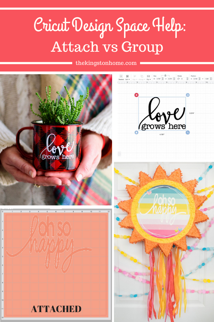 Cricut Design Space Help: Attach Vs Group - The Kingston Home: Learn how easy it is to know when you should use either the attach or group option in Cricut Design Space! via @craftykingstons
