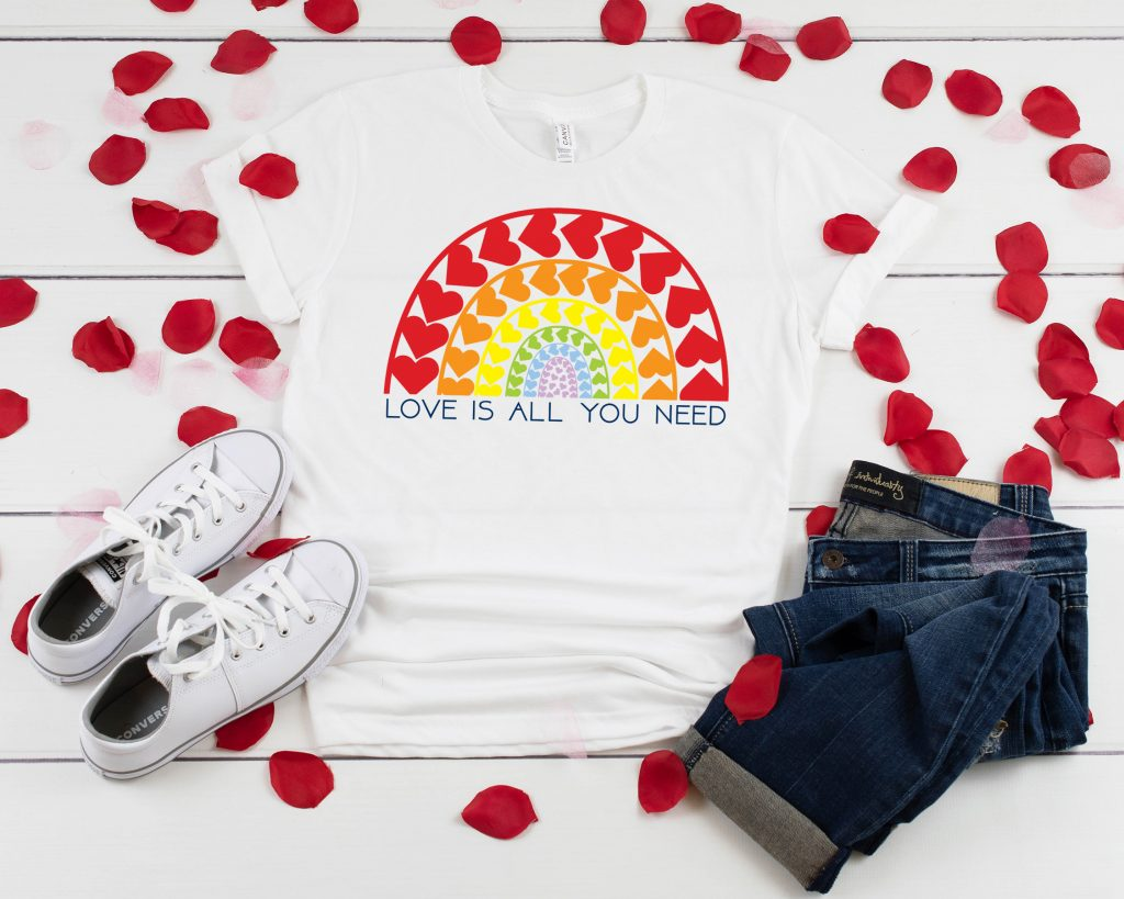 white t-shirt with rainbow heart print