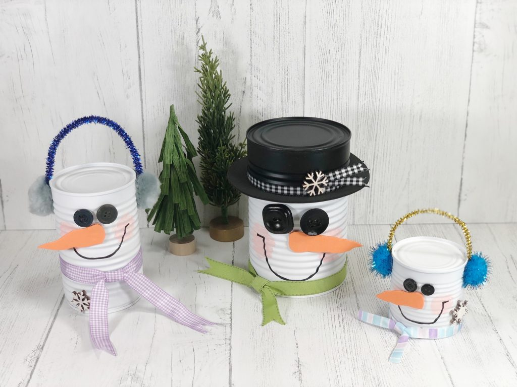 group of snowman soup cans