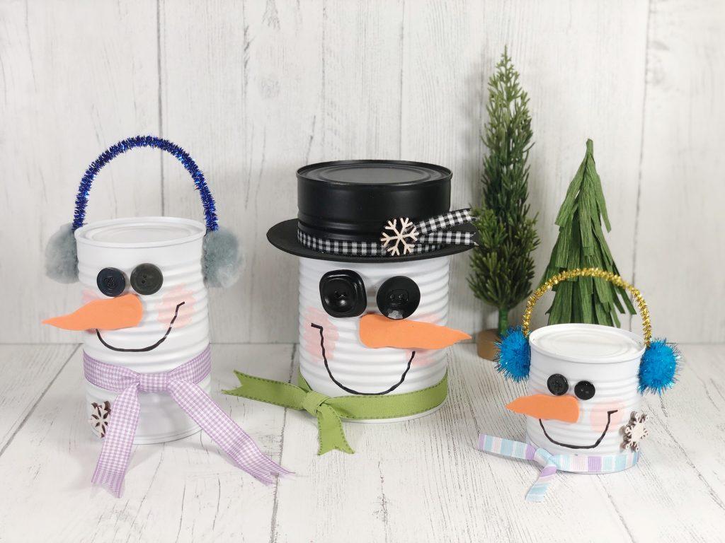 kid crafts snowman soup cans