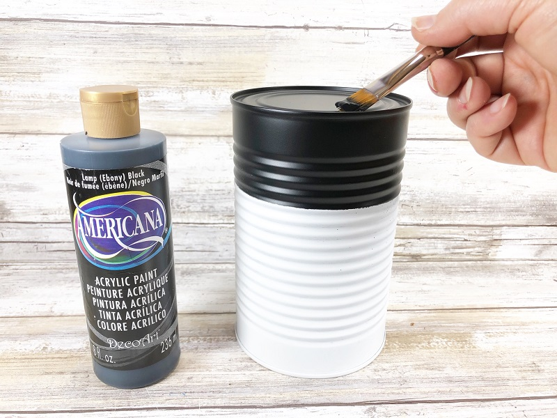 tin can with black paint