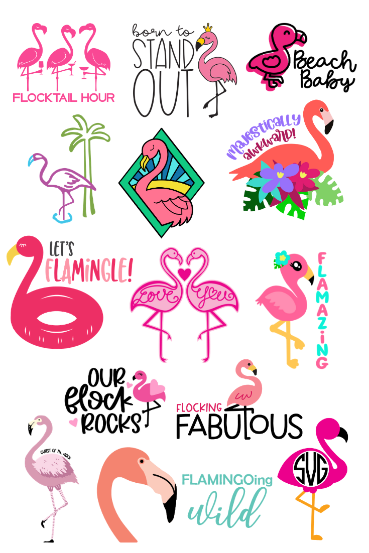 flamingo svg file collage