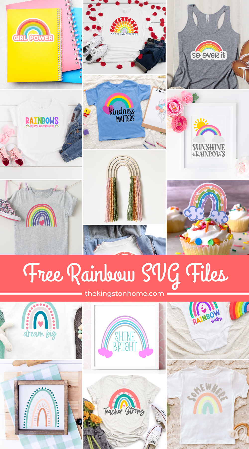 Free Rainbow SVG Files - The Kingston Home: If there is one thing we can all use these days - it's rainbows! We're sharing sixteen free Rainbow SVG files to brighten up your corner of the world. via @craftykingstons