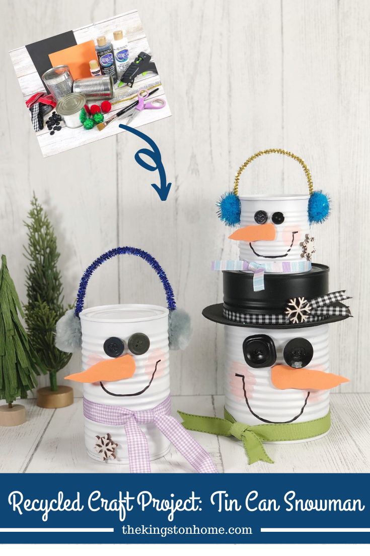 Recycled Craft Project: Tin Can Snowman - The Kingston Home: Grab some cans out of the recycling bin and let's make a recycled craft project! These metal can snowmen are quick and easy to create with the kiddos in an afternoon with a few supplies from the Dollar Store. via @craftykingstons