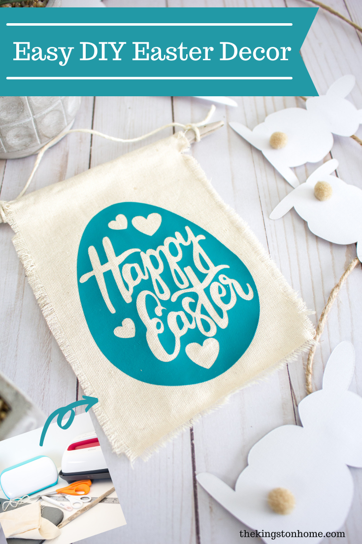 Easy DIY Easter Decor - The Kingston Home: Grab your Cricut (you can use any of their machines) and this free SVG file and let's make some last minute DIY Easter decor! via @craftykingstons