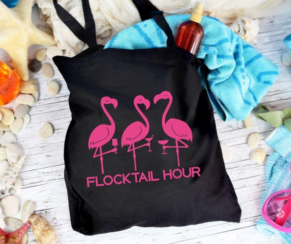 black flamingo tote bag