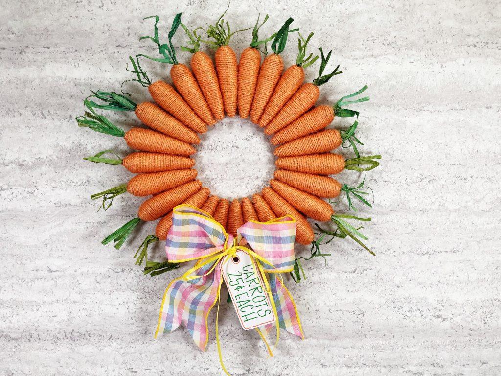 Easter twine carrot wreath DIY