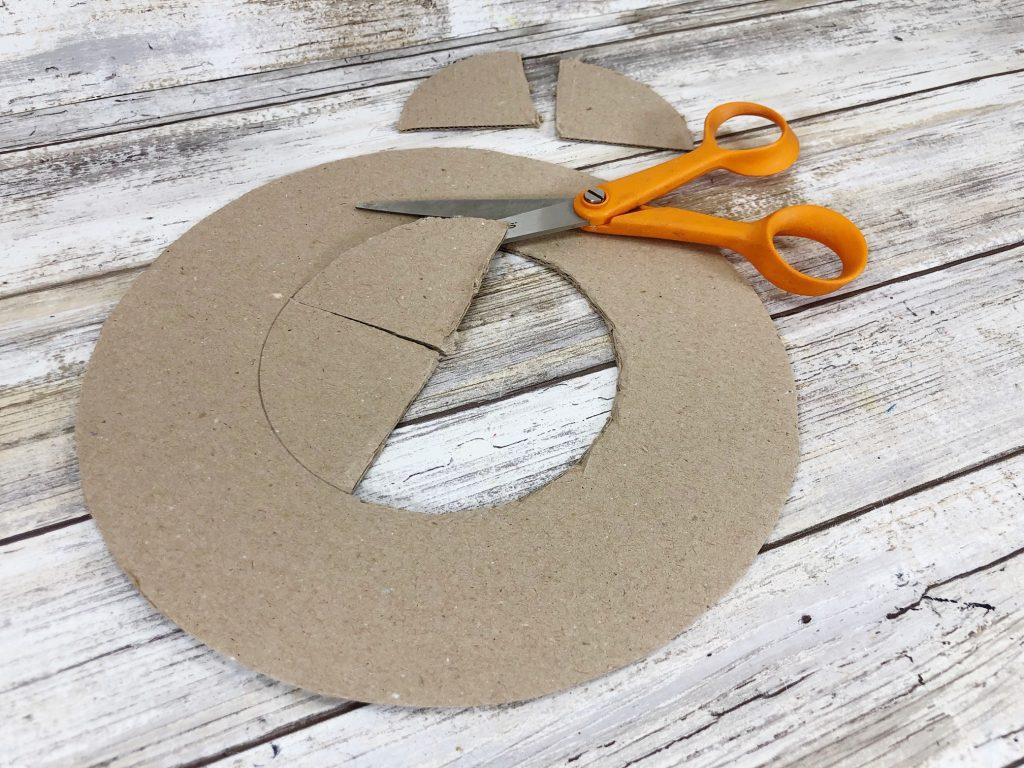 cardboard wreath with scissors