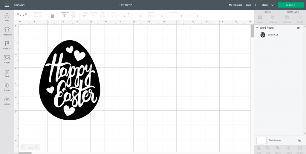 weld Happy Easter SVG file into design space