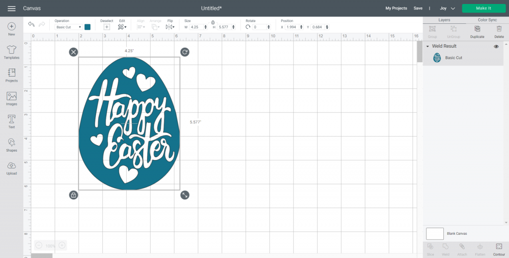 changing color in Cricut Design Space for Easter SVG