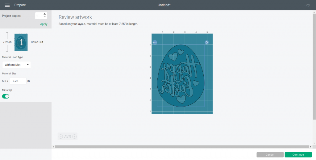 select mirror in Cricut Design Space for Easter Egg SVG file