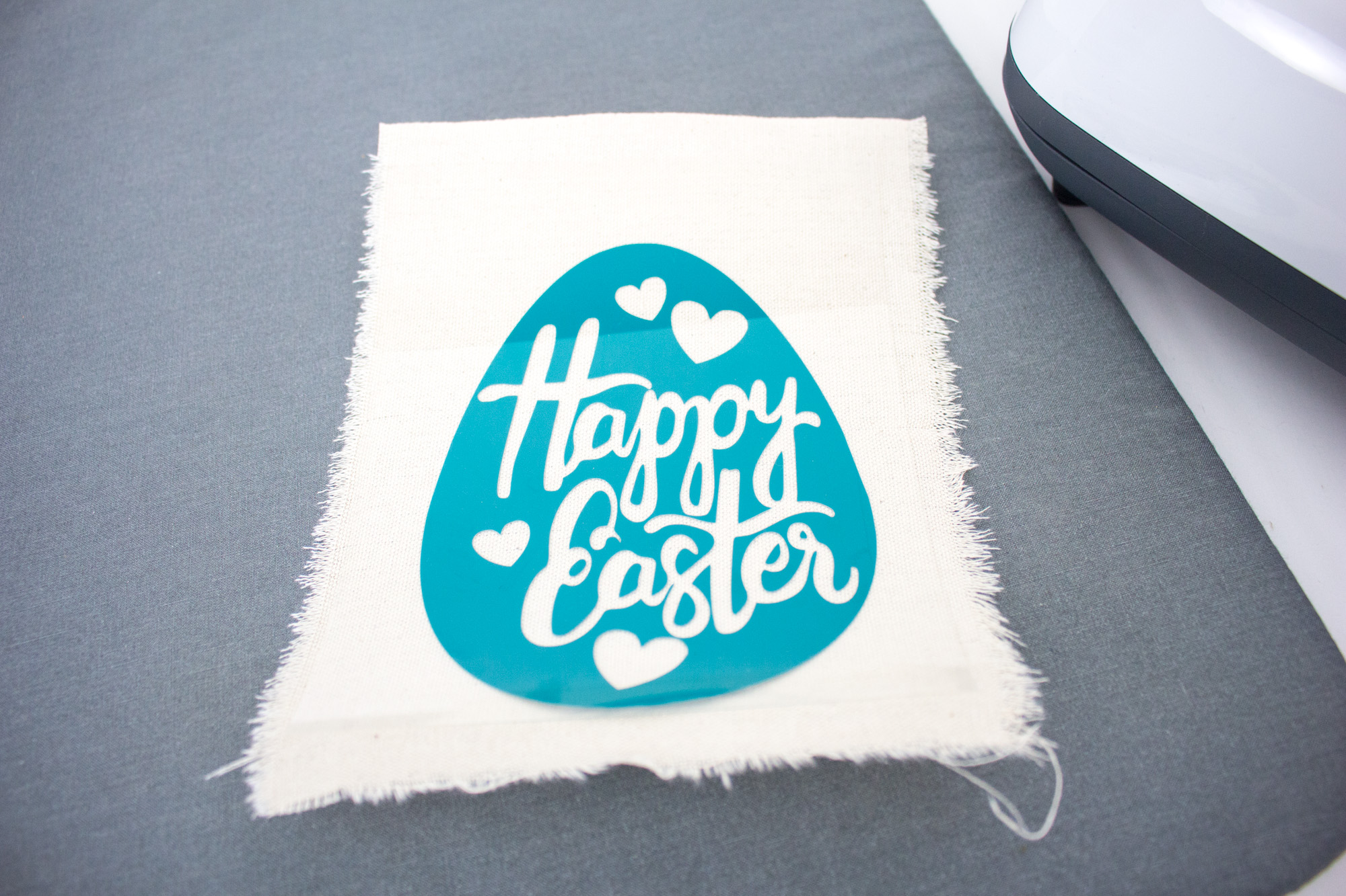 apply Cricut transfer tape image to fabric