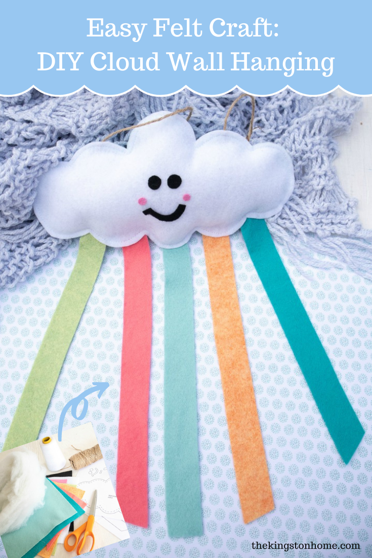 Easy Felt Craft: DIY Cloud Wall Hanging - The Kingston Home: Looking for an easy felt craft? Whether you are new to sewing, new to using felt or new to crafting in general this cute cloud wall hanging is a great way to try some fun new techniques! via @craftykingstons