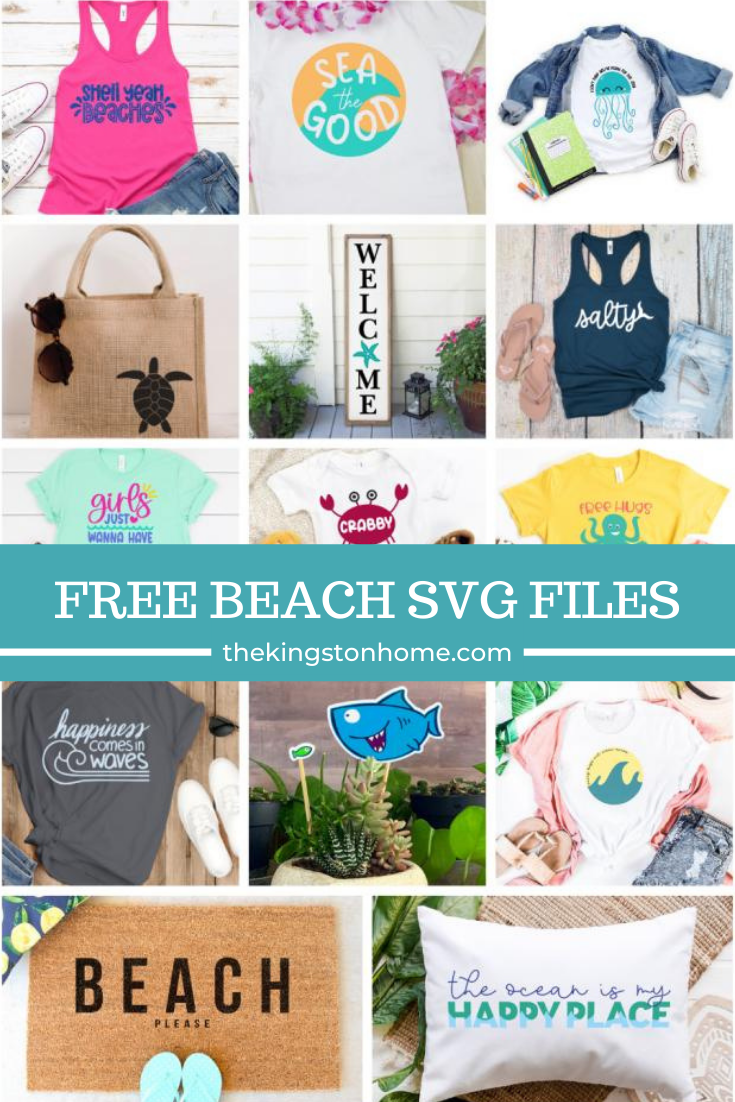 Free Beach SVG Files - The Kingston Home: Summer is ALMOST HERE!!! Today we're getting our beach wardrobe (and home decor) ready with 14 free Beach SVG files! via @craftykingstons