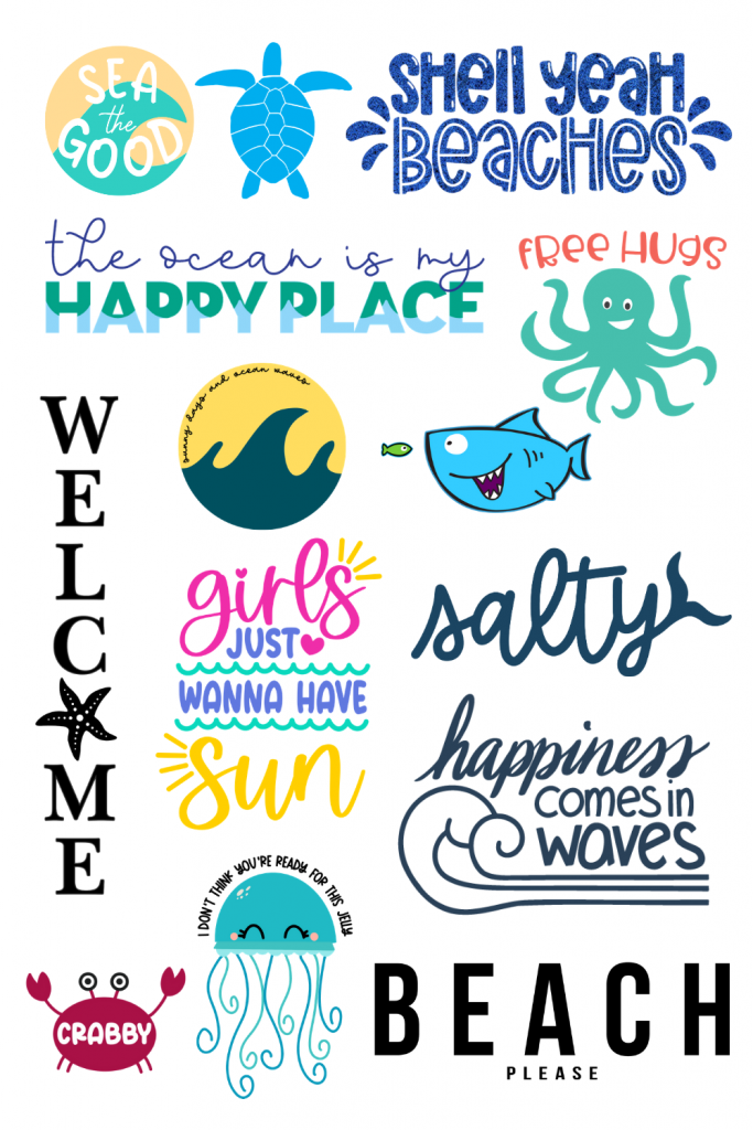 collage of beach themed svg files