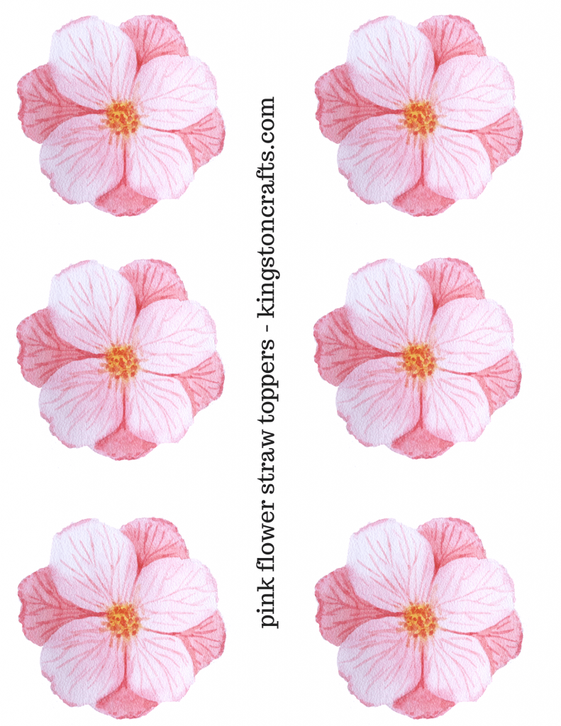 pink flower straw topper