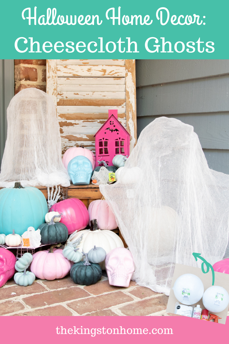 HALLOWEEN HOME DECOR: CHEESECLOTH GHOSTS - The Kingston Home: Cheesecloth ghosts are a well loved part of my childhood memories. Today we're going big (literally) by making large ghosts using just a few items and your imagination! via @craftykingstons