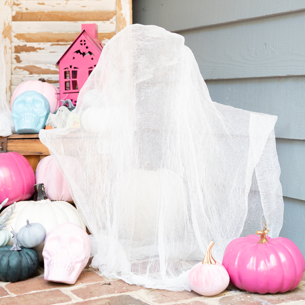 cheesecloth ghost on front porch