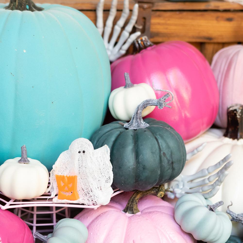 pink, teal, and blue, pumpkin